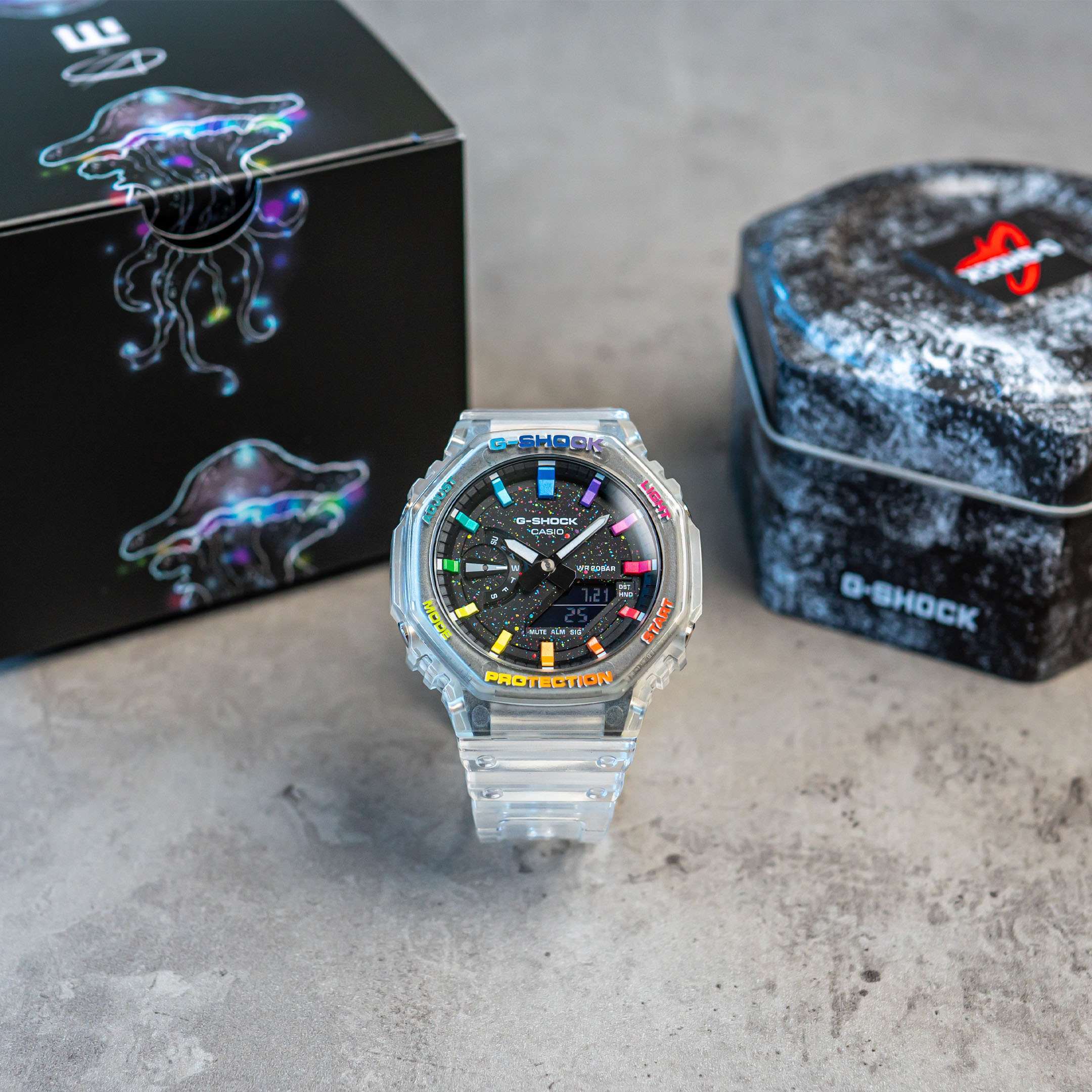 IFLW G-Shock GA-2100SKE-7AER CasiOak Crystal Jellyfish Limited Edition watch hand-painted by the Dial Artist box
