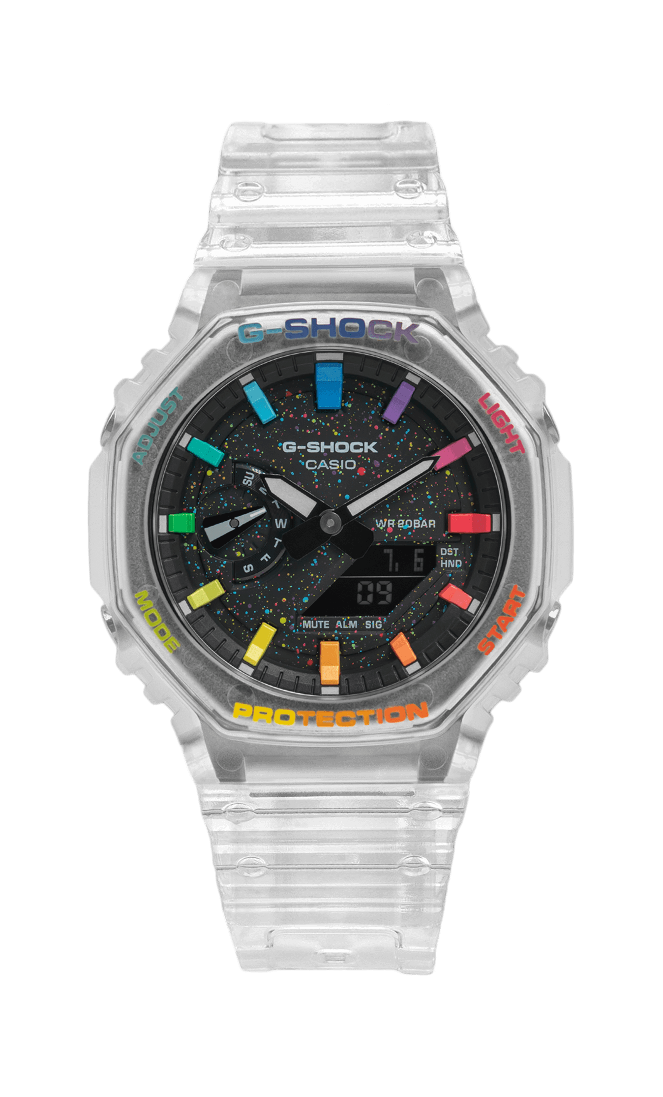 IFLW G-Shock GA-2100SKE-7AER CasiOak Crystal Jellyfish Limited Edition watch hand-painted by the Dial Artist